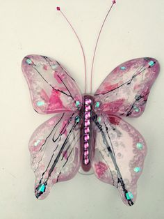 Pink fused glass butterfly
