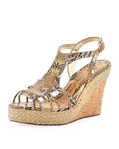 Isabel Python-Print Wedge by Elaine Turner at Last Call by Neiman Marcus.