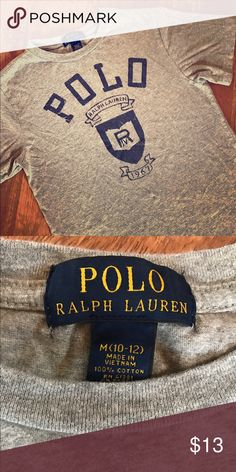 {Ralph Lauren} Boy's Shirt Boy's size M (8/10) Polo by Ralph Lauren heather gray/navy logo short-sleeved t-shirt in excellent used condition! Smoke-free home. Bundle and save!!! Polo by Ralph Lauren Shirts & Tops Tees - Short Sleeve