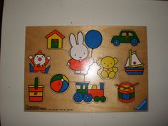 Dick Bruna Miffy Bunny wood peg puzzle by pureplusproducts on Etsy, $10.00    #dickbruna #miffy #miffypuzzle