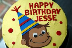 Jesse turned 2 last month and had a Curious George themed party. The cake was vanilla bean with vanilla buttercream frosting. 4th Birthday Parties, Birthday Fun, Birthday Party Decorations, Birthday Celebration, Birthday Ideas, Birthday Stuff, Cake Birthday, Curious George Cakes, Curious George Party