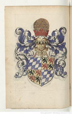 Grand armorial colorié, dont les blasons sont rangés sous les rubriques suivantes.   Gallica