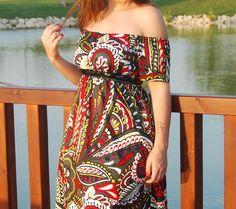 Maxi dress Retro print Peasant Dress summer dress by MixeDesigns,