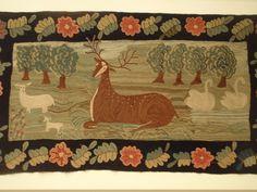 Deer and swan hooked rug