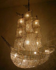 I want this for a Peter Pan kid's room The Crystal Ship - crystal sailboat chandelier from Burden Antiques & Works of Art in New York. Peter Pan Nursery, Crystal Ship, Glass Crystal, Contemporary Chandelier, Unique Chandelier, Nautical Chandelier, Chandelier Tree, Decorative Chandelier, Luxury Chandelier