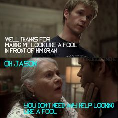 Jason Stackhouse & his grandmother Adele Stackhouse Vampire Shows, Vampire Love, True Blood Series, Book Tv, Season 1, Adele, Favorite Tv Shows, Movies And Tv Shows, All About Time