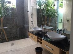 Bathroom with glass wall outdoor shower and twin basins.