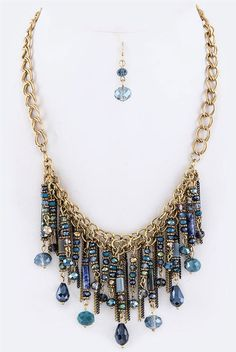 Fringe Beads and Chains Statement Necklace Set