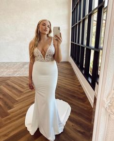 Can't decide on lace or a plain gown? Meet Tommy Crepe! She is elegant and charming with a subtle, daring edge that will captivate your senses. Wedding Stuff, Meet, Gowns, Bridal, Elegant, Formal Dresses, Lace, Fashion, Clothing
