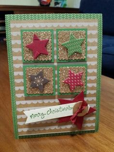 Stampin' Up - Michelle Johnstone - trim the tree case of Mary Fish  Christmas card using star framelits,  garden green,  champagne glimmer paper http://www.stampinup.net/esuite/home/michellejstamping/
