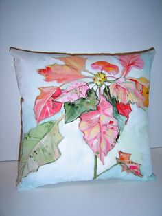 Watercolor Poinsettia Pillow Hand Painted 9 X by PAINTEDPILLOWS, $45.00