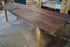 Jarrah and Oak. Table top constructed from old Jarrah fence palings with character retained.Table base constructed from recycled Oak. Raw Furniture, Rustic Furniture, Furniture Making, Hardwood Table, Farmhouse Table, Dining Table, Home Decor, Decoration Home, Room Decor
