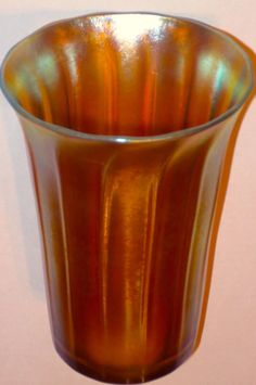 Signed Steuben Aurene Scarce Paneled Tumbler (six available) Steuben Glass, Antique Glass, Tumblers, Tiffany, Pottery, Signs, Antiques, Ceramica, Antiquities