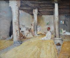 Algérie - Peintre Français  Maurice Bompard(1857-1936), Huile sur toile 1891, Titre :  Mosquée de Sidi Mohammed, Chetma   SIDI OKBA