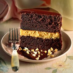 Chocolate-Peanut Butter Mousse Cake - Starting with a boxed cake mix makes this cake both easy and delicious. Creamy peanut butter mousse between layers of chocolate cake. Garnish with chopped roasted peanuts and serve with a scoop of ice cream. Layer Cake Recipes, Cake Mix Recipes, Layer Cakes, Bar Recipes, Frosting Recipes, Cookie Recipes, Peanut Butter Mousse, Chocolate Peanut Butter, Chocolate Cake