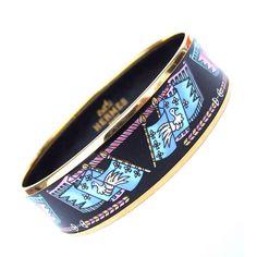 Hermès Enamel Printed Bracelet Flags Gold Hdw Size 65 1