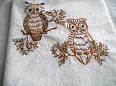 Embroidered Dish Towel Owls by VintagePlusCrafts on Etsy, $10.00