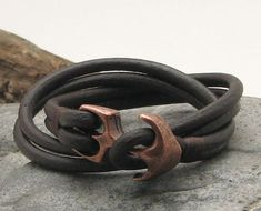 FREE SHIPPING. Unisex leather bracelet. Dark brown by eliziatelye, $26.00