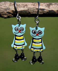 Handpainted cute dangle cat earrings cat by HorakovaDesigns, $21.00