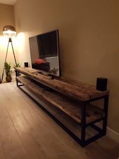 Industrial Design Furniture, Steel Frame Furniture, Stand Design, Tv Decor, Wooden Tv Stands, Welded Furniture, Tv Furniture, Home Decor, Tv Stand Decor