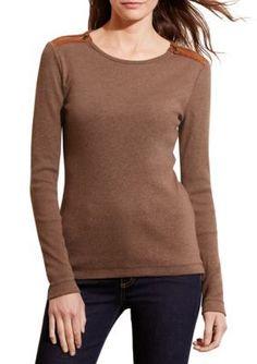 Lauren Jeans Co.  Zip-Shoulder Cotton Top