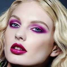 1980s Makeup; bold and dramatic for the night time with bright colors.