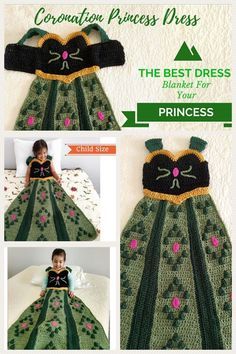 How awesome is this princess blanket?! My daughter will love it. Crochet your very own Coronation Princess Dress Blanket in a Child Small size with this one of a kind pattern. This project features slip on shoulder straps perfect for children to put on and take off by themselves. Make for your own children this Christmas or give as gifts to friends. #princessanna #frozenmovie #crochetpattern #blanketpattern #ad #eppartyad