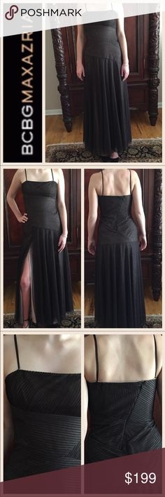 """NWOT BCBG Maxazria Chocolate Strapless Gown. Med. NWOT BCBG Maxazria Chocolate Strapless Gown. Medium. Strapless with back zipper with corseted top with built in bra and long flowing gown. Fully lined with material of gown is a billowy chocolate netting tulle material.   Measurements: bust: 16"""". Waist: 14"""". Length from top of dress to hem: 54.5"""". Absolutely stunning. BCBGMaxAzria Dresses Strapless"""