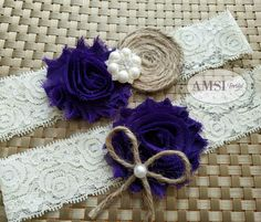 Wedding Garter Belt,Wedding garter Set,Bridal garter,Lace garter,violet Rustic wedding garter,Violet garter,Ivory Garter Burlap garter,bride
