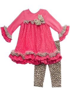 Rare Edition Pink Lace Cheatah Dress www.kidsbdazzled.com