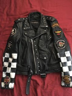 Leather Motorcycle Jacket For Men Moto Riding Cafe Racer Vintage Brando Biker Jackets CE Armored (L) – The Fashion Mart Studded Leather Jacket, Leather Jacket Outfits, Vintage Leather Jacket, Leather Jackets, Diy Leather Jacket Patches, Vest Outfits, Embroidered Leather Jacket, Mode Outfits, Grunge Outfits