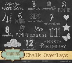 Baby Ages Chalkboard Overlay Clipart by Origins Digital Curio on @creativemarket