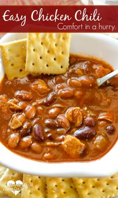 Easy Gluten Free Chicken Chili - AN easy-peasy, comfort food that will cure your family's hunger in MINUTES! This hearty meal is super-simple and made from scratch! Super-yumminess on the way!