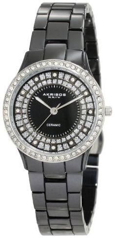 Akribos XXIV Women's AK509BK Slim Ceramic Watch Akribos XXIV. $145.00. Silver tone bezel is adorned with dazzling crystals. Watch arrives in an akribos xxiv gift box complete with a 2 year limited warranty. Water-resistant to 30 M (99 feet). Black sunray dial with sparkling glitter. Ceramic fashion timepiece. Save 80% Off!