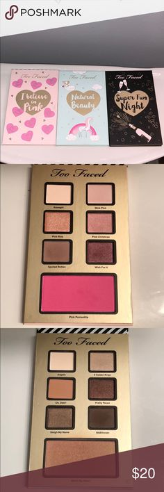 Too Faced 2017 Holiday Trio Eyeshadow Set 💕Too Faced 2017 Holiday Trio Eyeshadow Set💕 These have been used, but as you can see, just barely. I didn't find the shadows were for me but hopefully someone else will like them. ⚠️Does not come with original packaging⚠️ Too Faced Makeup Eyeshadow