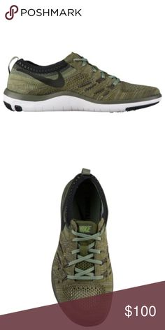 NIKE FREE TR FOCUS FLYKNIT Olive green casual sneaker. Great for working out or wearing on a daily basis. New with tags. Nike Shoes Sneakers