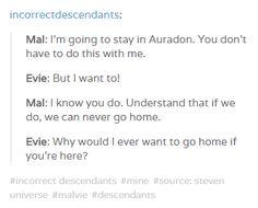incorrect disney's descendants quotes: evie and mal (malvie)