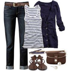 untitl 433, denim jeans, navy and brown, summer outfits, navy cardigan outfit, summertime outfits, brown boots, shoe, stripe