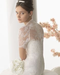 126 NECTAR   Wedding Dresses   2014 Collection   Alma Novia   Shown with Jacket (close up back)