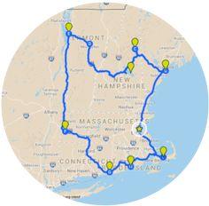 New England Itinerary Map - Grand Tour of all Six States - PinCanada East Coast Travel, East Coast Road Trip, New England States, New England Travel, Road Trip Map, Road Trips, Road Trip Hacks, New England Fall Foliage, Grand Tour