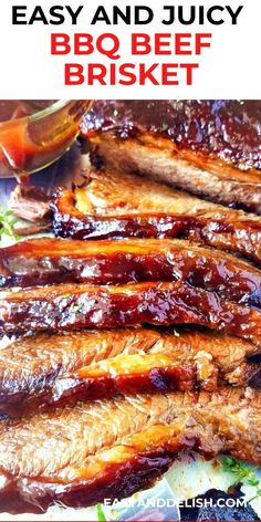Make the best and most tender beef brisket in the slow cooker and serve with a delicious barbecue sauce. So easy and delish! Perfect dinner recipe for the family. Check out the recipe here or save this pin for later.   #brisket #beefrecipe #barbecuerecipe #crockpotrecipes #dinner #crockpot #dinnerrecipe