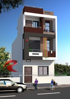 Elegant Narrow House Design Tips to Successfully Design and Build a narrow house design Elegant Narrow House Design - Things have changed a great deal because I designed and buil. Single Floor House Design, Bungalow House Design, House Front Design, Small House Design, Building Elevation, House Elevation, Front Elevation Designs, Narrow House Designs, Cool House Designs