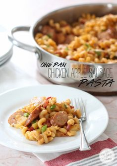 One Pan Chicken Apple Sausage Pasta (made mine with smoked sausage, cheddar, liquid from tomatoes but not the chunks to appease picky kid - delicious, but would add more spice! Chicken Sausage Recipes, Chicken Apple Sausage, Turkey Sausage, Pasta Dishes, Food Dishes, Main Dishes, One Pan Pasta, One Pan Chicken, One Pot Meals