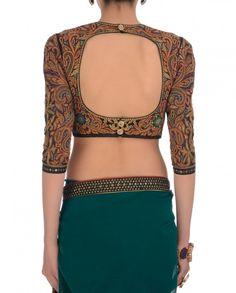 Teal Vintage Embroidered Saree