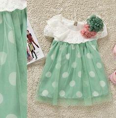 Cute Mintgreen Dress for Infant Girls Mintgreen Polka Dots | Rudelyn's Sari Sari Store
