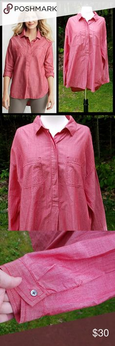 "Lands' End Watermelon Pink Tunic Blouse 18/XL Tall Gorgeous, like new condition. Long sleeves with high-low hem. Extra button included on the care tag. Smoke free home.   100% Cotton   Measurements are approximate and taken laid flat and unstretched.  Underarm to Underarm 27.5"" Length from shoulder to high-low hem 30""/33"" Lands' End Tops"