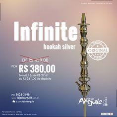 Infinite hookah silver DE R$ 420,00 / POR R$ 380,00 Em até 18x de R$ 27,61 ou R$ 361,00 via depósito  Compre Online: http://www.lojadoarguile.com.br/infinite-hookah-silver