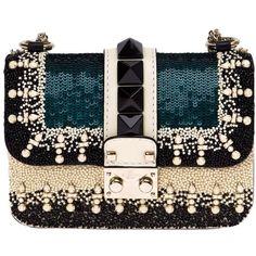 Valentino Garavani Glam Lock Shoulder Bag ($2,945) ❤ liked on Polyvore featuring bags, handbags, shoulder bags, сумки, black, valentino purses, genuine leather purse, leather purses, leather handbags and valentino handbags
