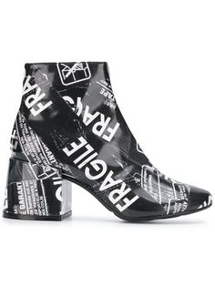 d83b9094e5 Mm6 Maison Martin Margiela Black Crackled Graffiti Printed Leather ...