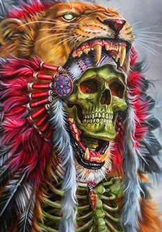 Arte Horror, Horror Art, Tattoo Indio, Indian Skull Tattoos, Backpiece Tattoo, Skull Pictures, Aztec Warrior, Skull Artwork, Tatoo